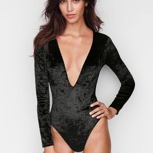 VS crushed velvelt plunge bodysuit.